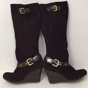 e5d5767ae22 Michael Kors Shoes - Michael Kors suede Norma wedge boots leather 7.5